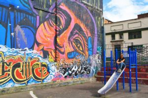 playground with street art in la Candelaria