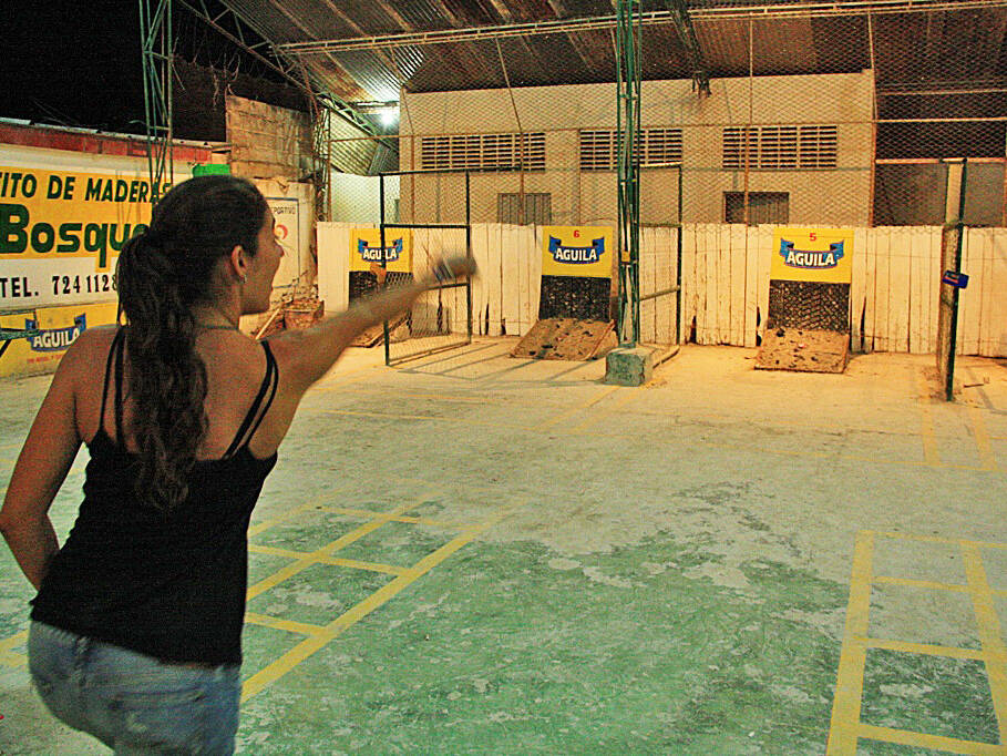 Playing Tejo game in San Gil Colombia