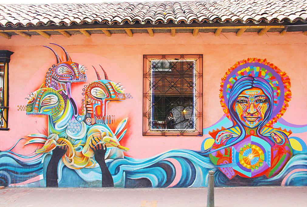 street art on a shop in bogotá