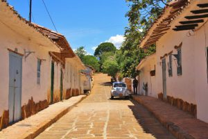 oldtimer in the streets of colonial town Barichara