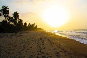 sunset on the beach of palomino Colombia