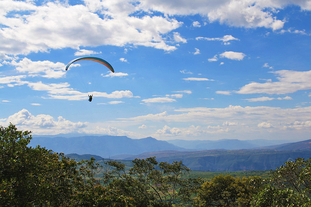 Paragliding view over the Chicamocha canyon in San Gil Colombia