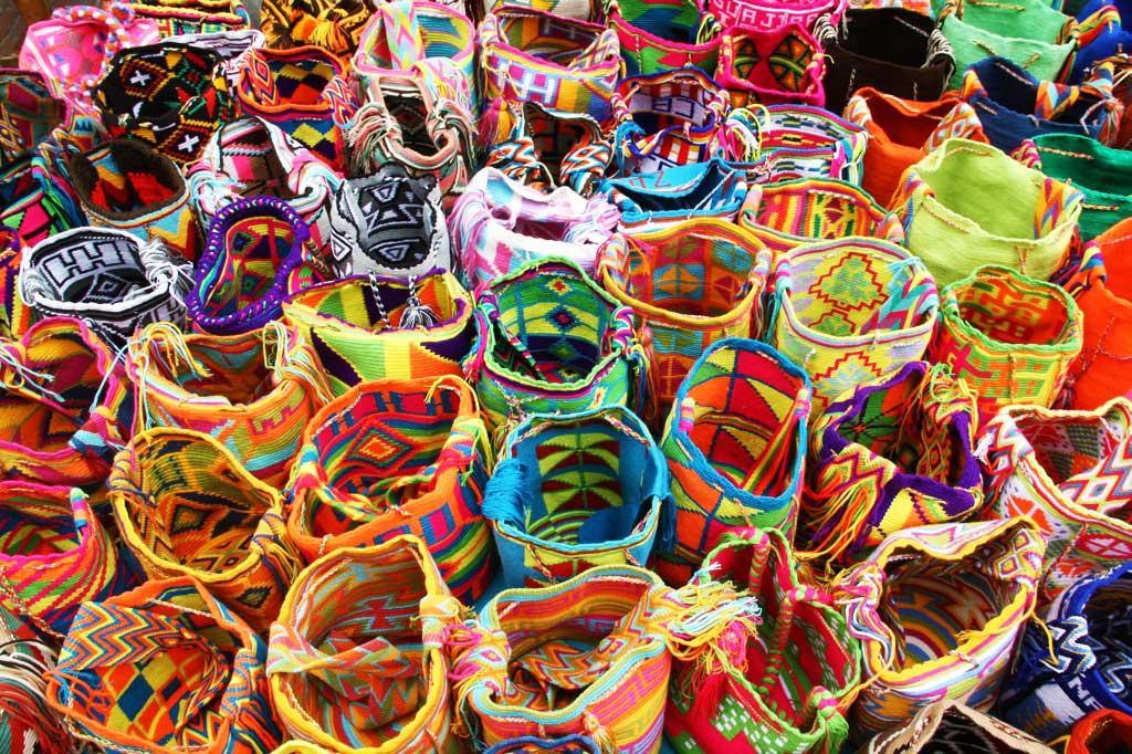 wayuu bags on the usaquen market bogotá