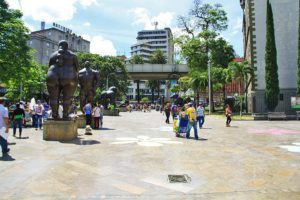 Square of the Botero museum in Medellin Colombia
