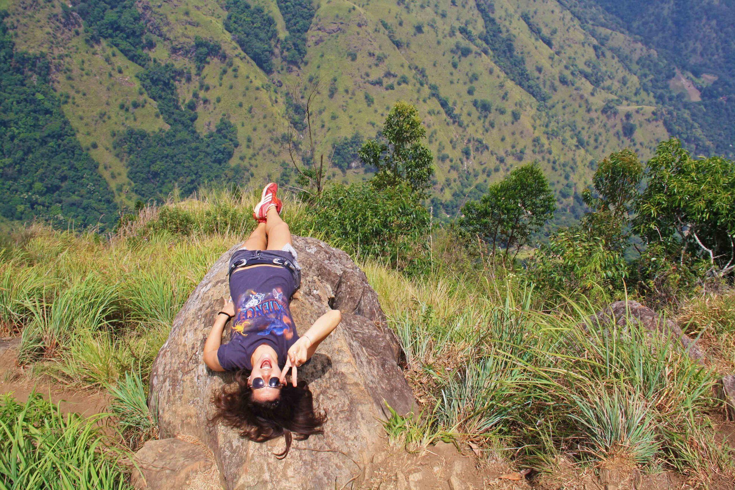 edge ella rock posing hiking sri lanka