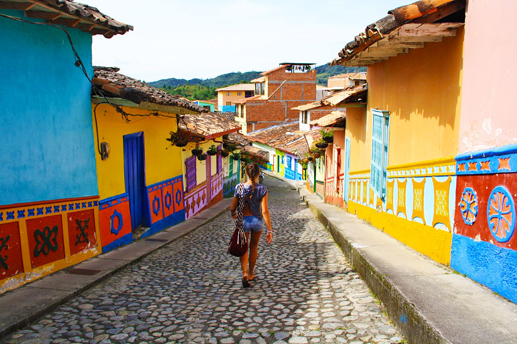Guatape town colorful houses