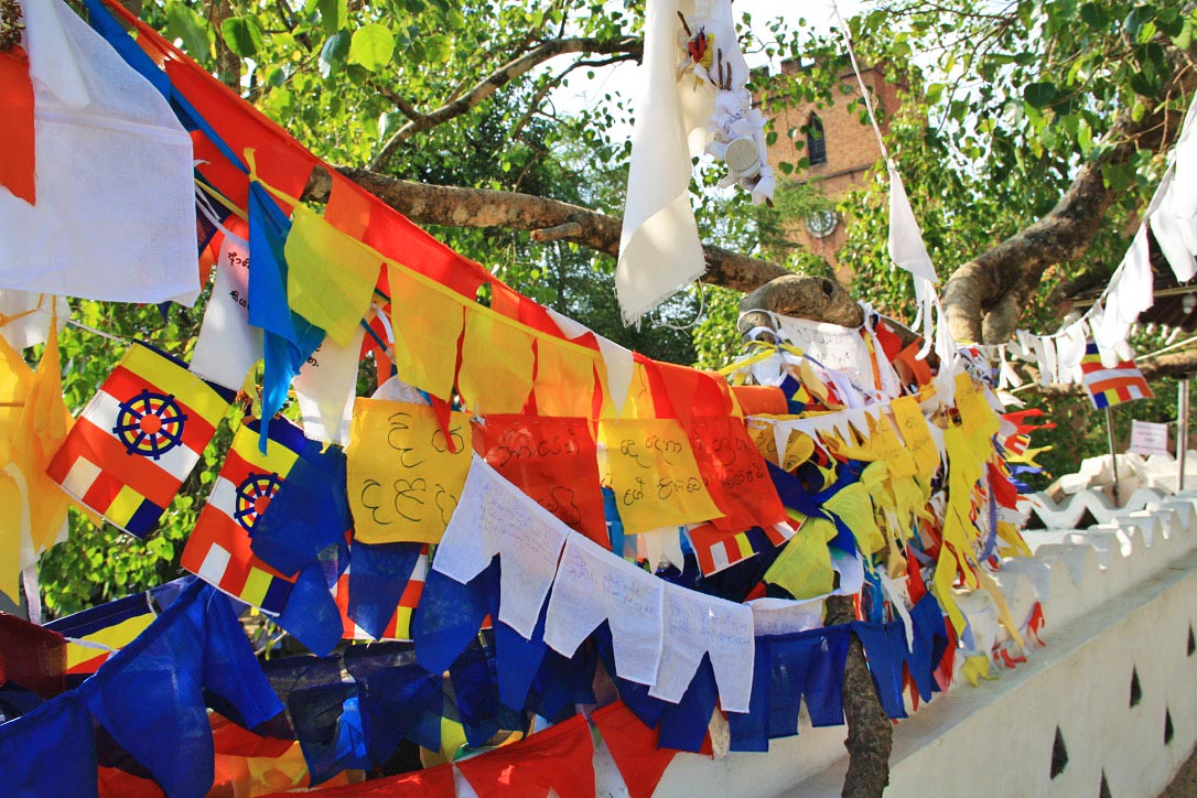 buddhism natha devale flags protection kandy sri lanka