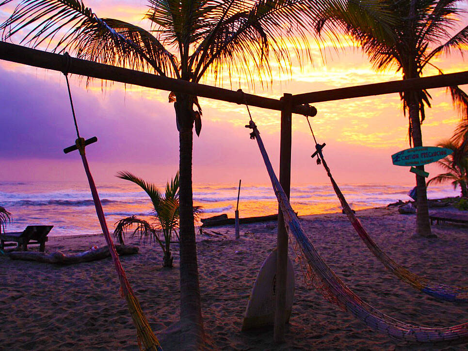 costeno beach sunrise hammocks colombia