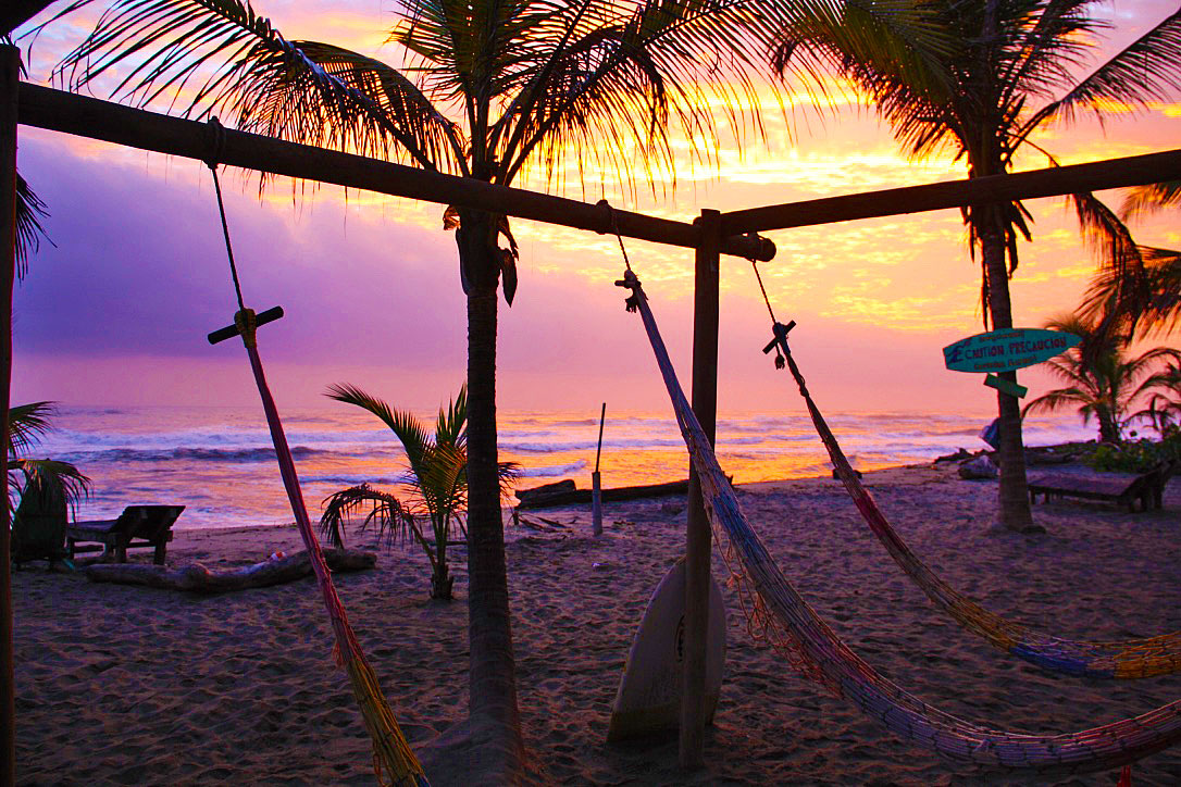 costeno beach sunrise hammocks colombia south america