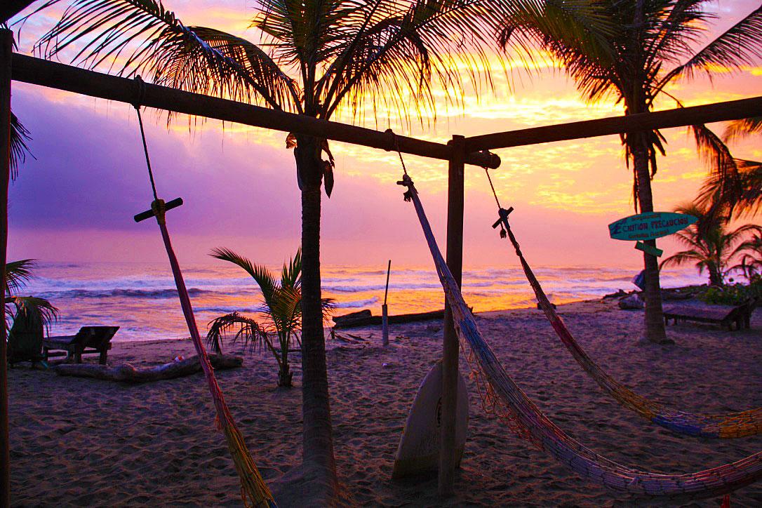 costeno beach sunrise hammocks colombia