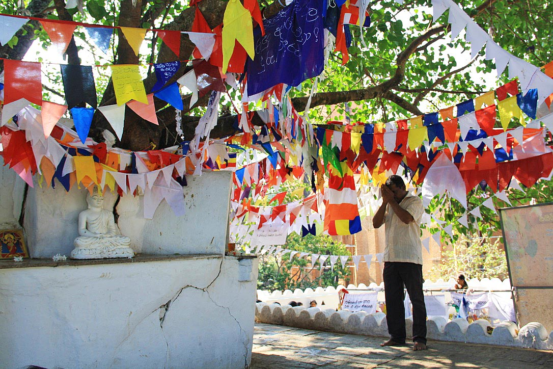flags praying buddhism natha devale kandy sri lanka