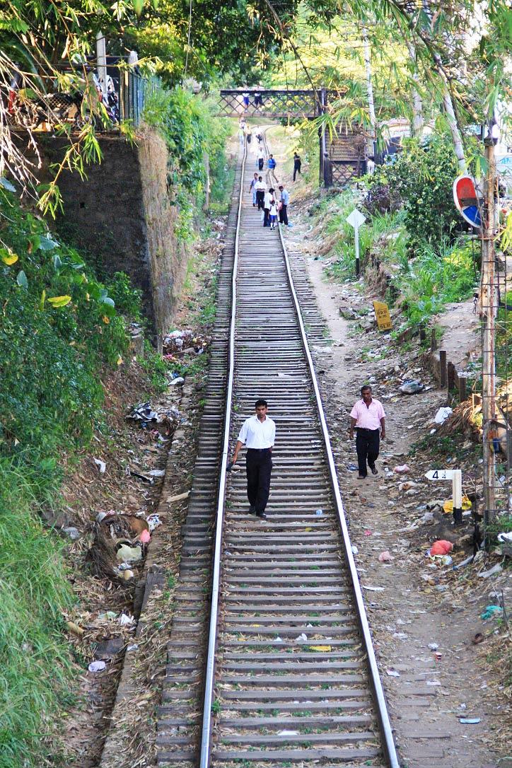 pedestrians rail track kandy sri lanka
