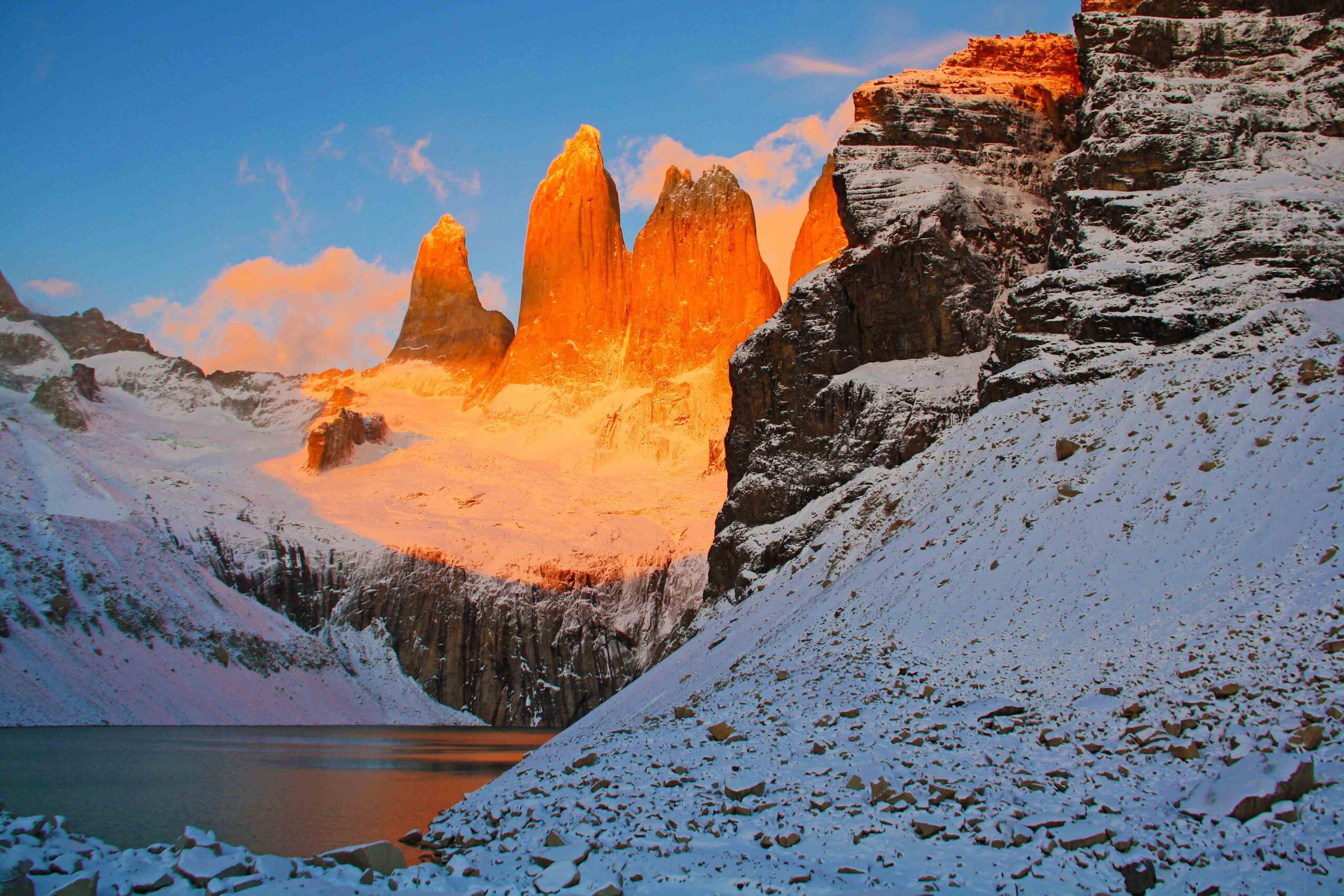 sunrise torres del paine national park chile