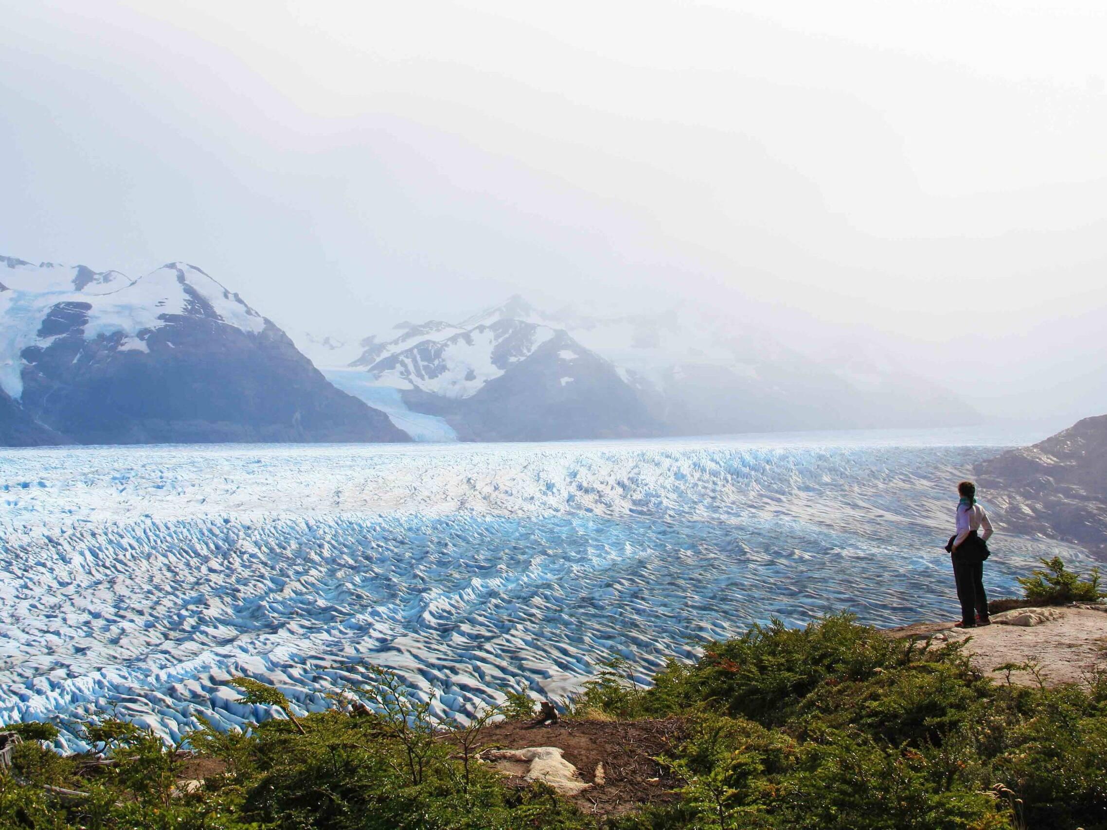view glacier grey trekking torres del paine chile