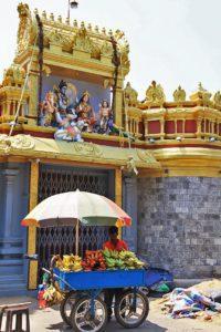 fruit vendor streets pettah hindu temple colombo sri lanka