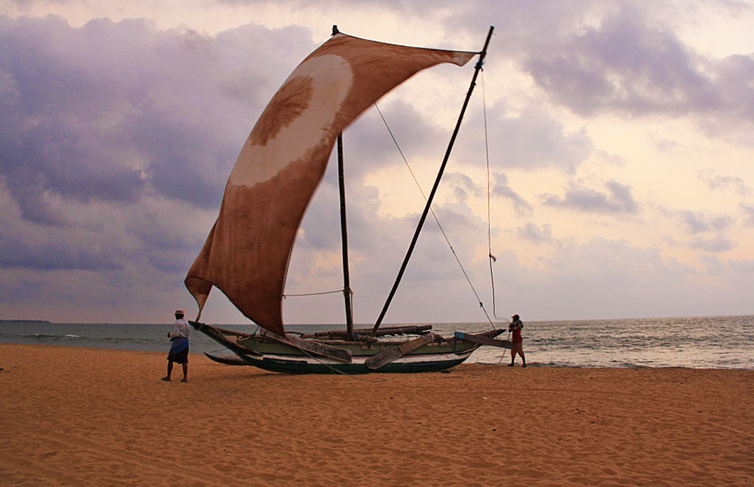 sailing boat negombo beach sri lanka