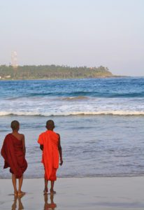 buddhist monk kids dickwella beach sri lanka