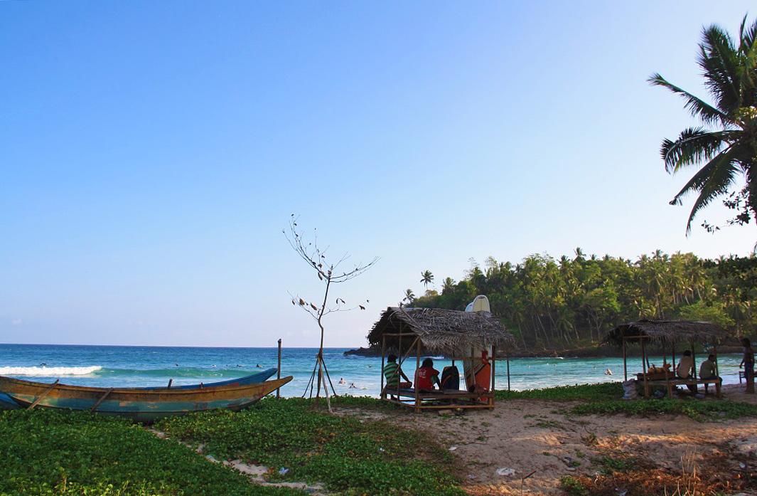 view hiriketiya beach ocean sunset dots bay house sri lanka