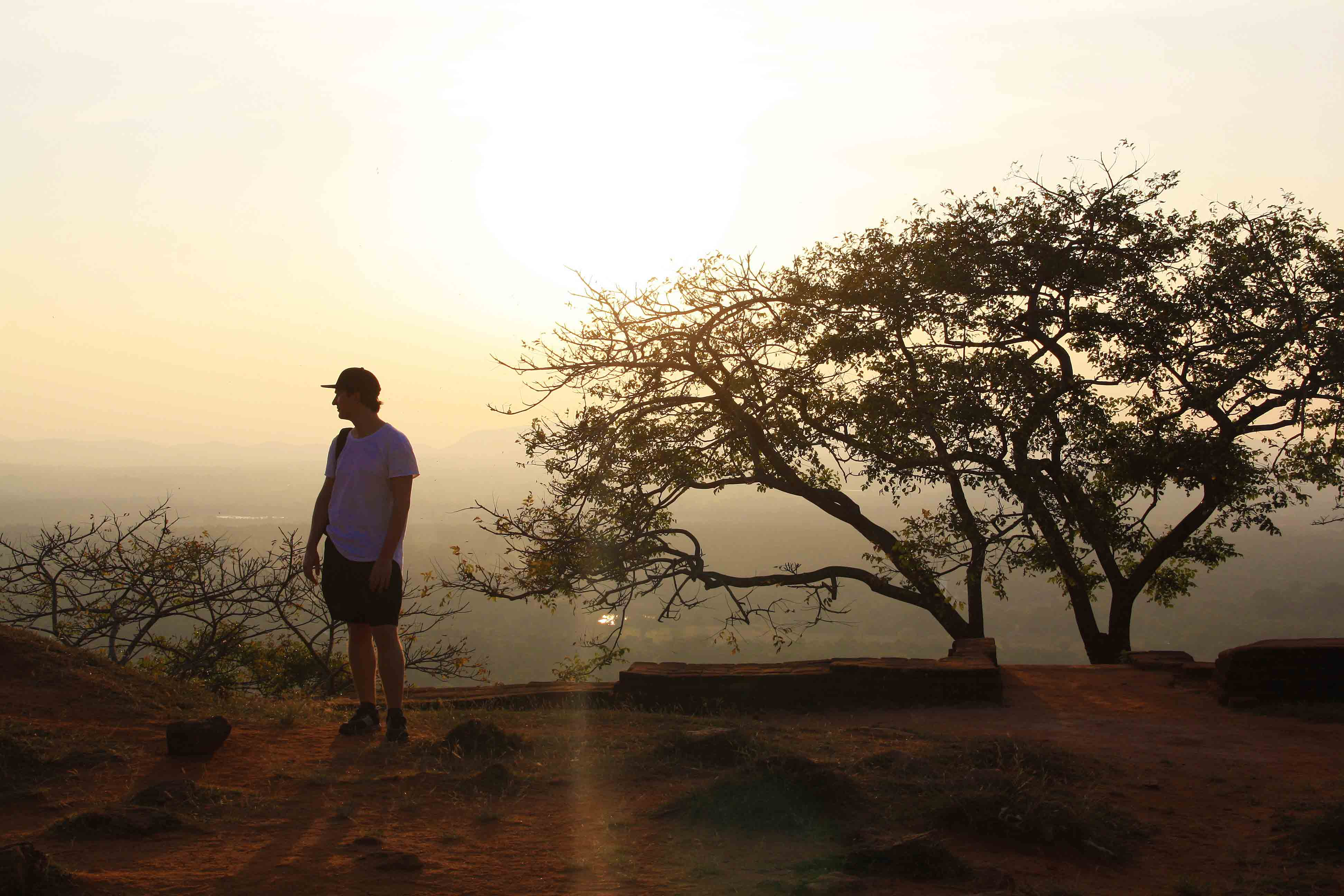 sunset view sigiriya rock nature sri lanka