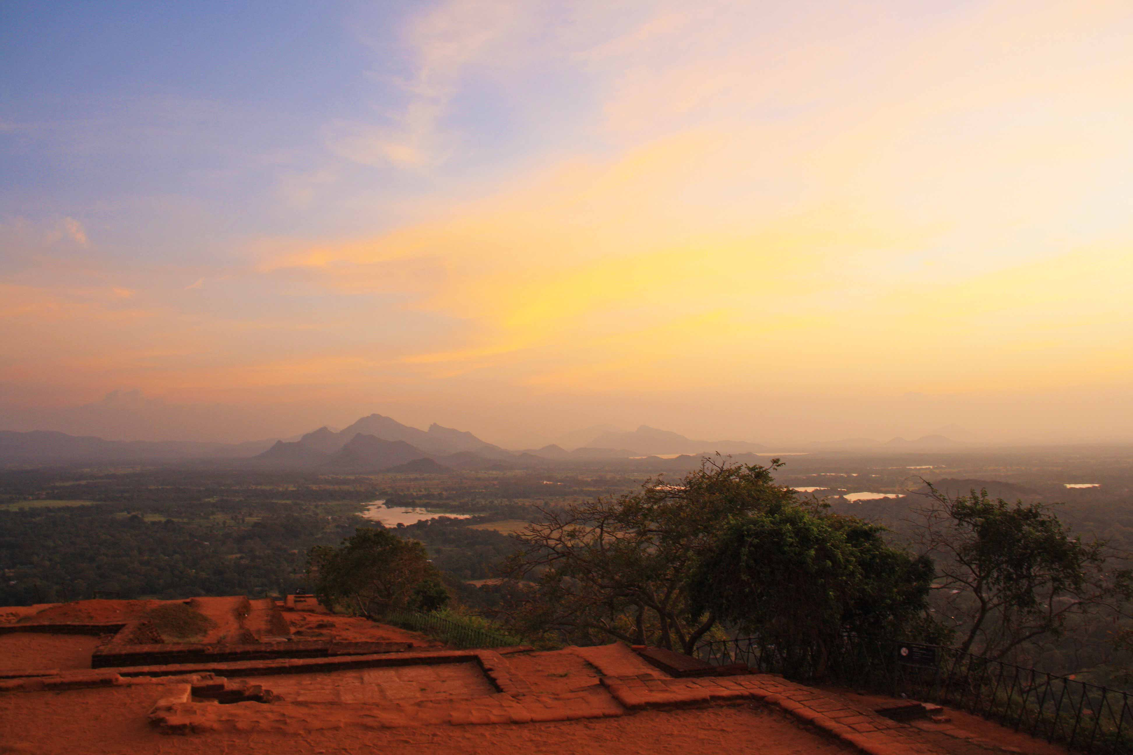view sigiriya rock sunset sri lanka