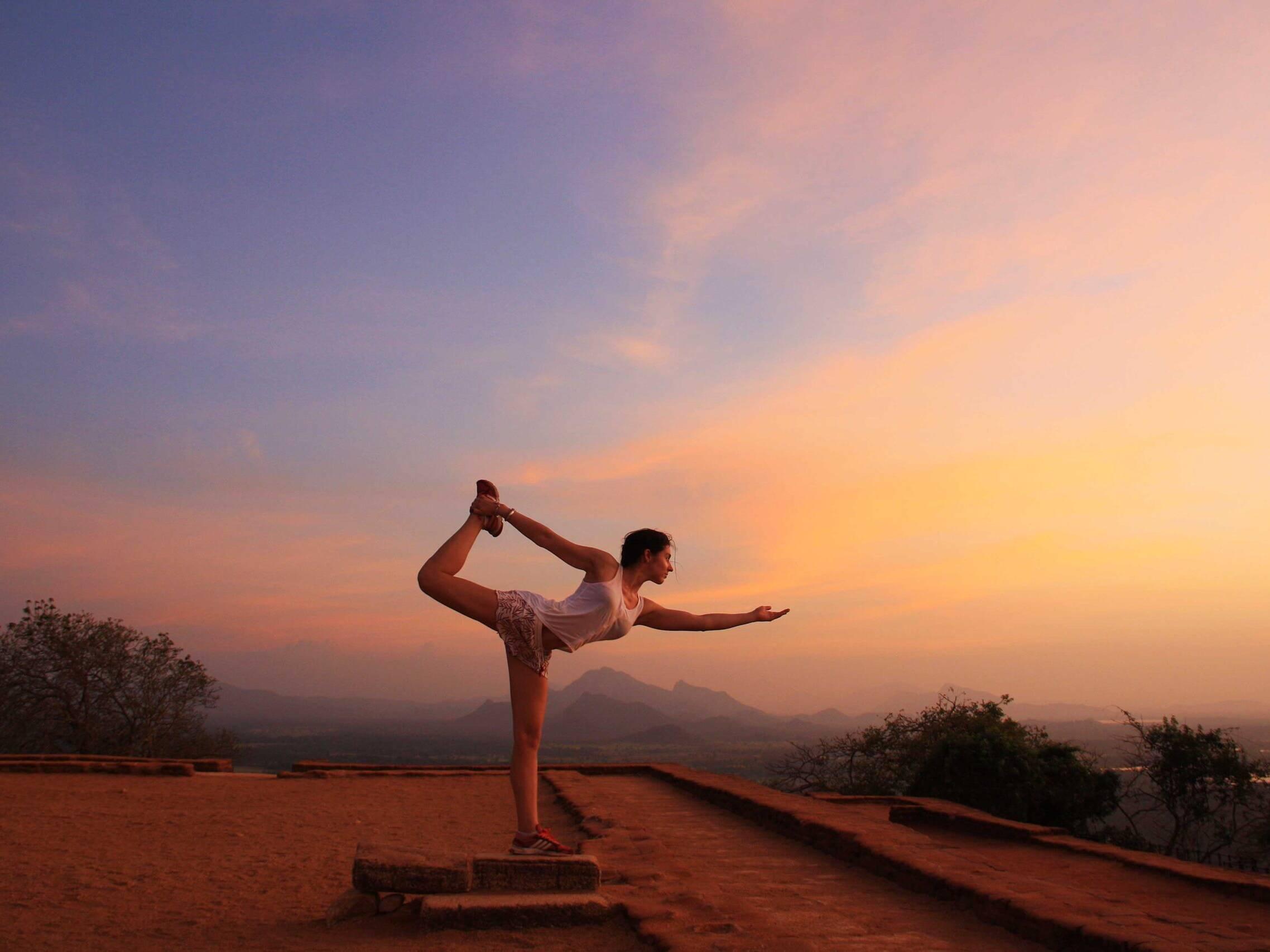 yoga session sigiriya rock sri lanka