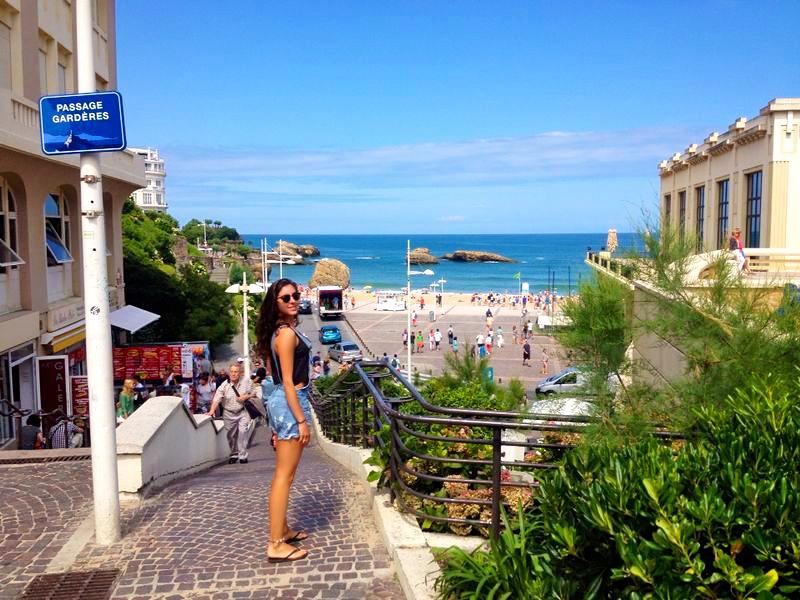 biarritz town streets beach view france