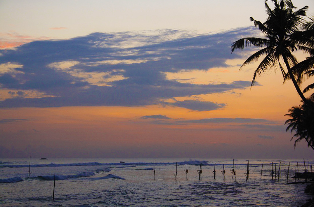 sunset view palmtrees stilt fishermen paradise surfing ahangama sri lanka