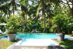 swimming pool at surf camp poe ahangama sri lanka