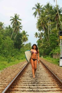 surfboard train track ahangama sri lanka