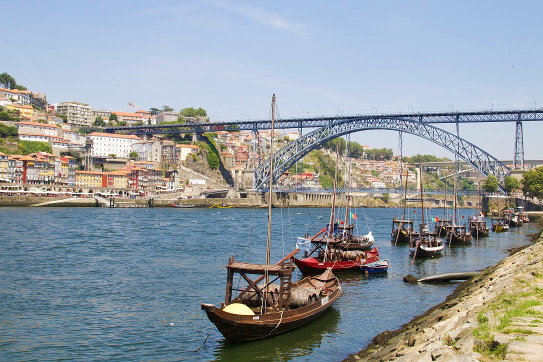 port boats ribeira view porto river douro portugal