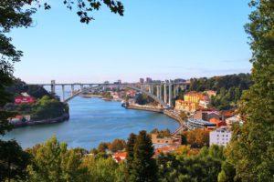 Porto view from Jardins do Palacio de Cristal in Portugal