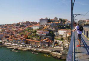 porto city view dom luis bridge portugal