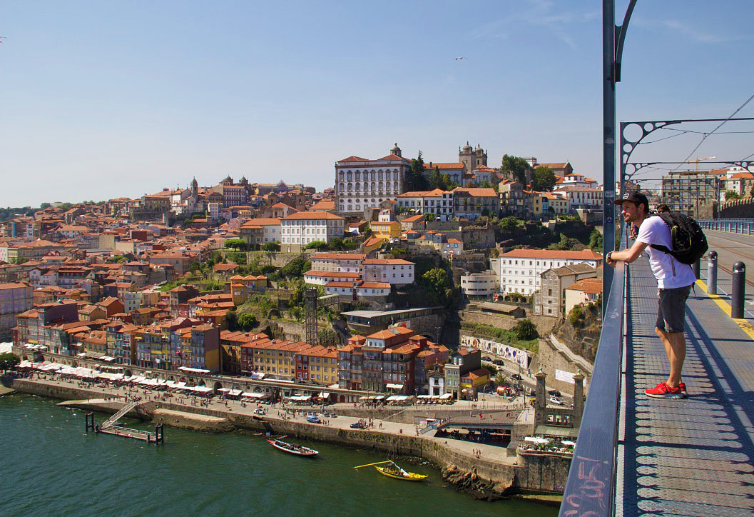 porto city view dom luis bridge portugal