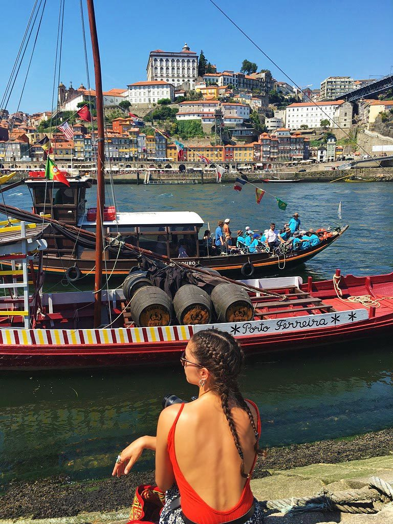 porto ribeira river view douro port boats gaia portugal