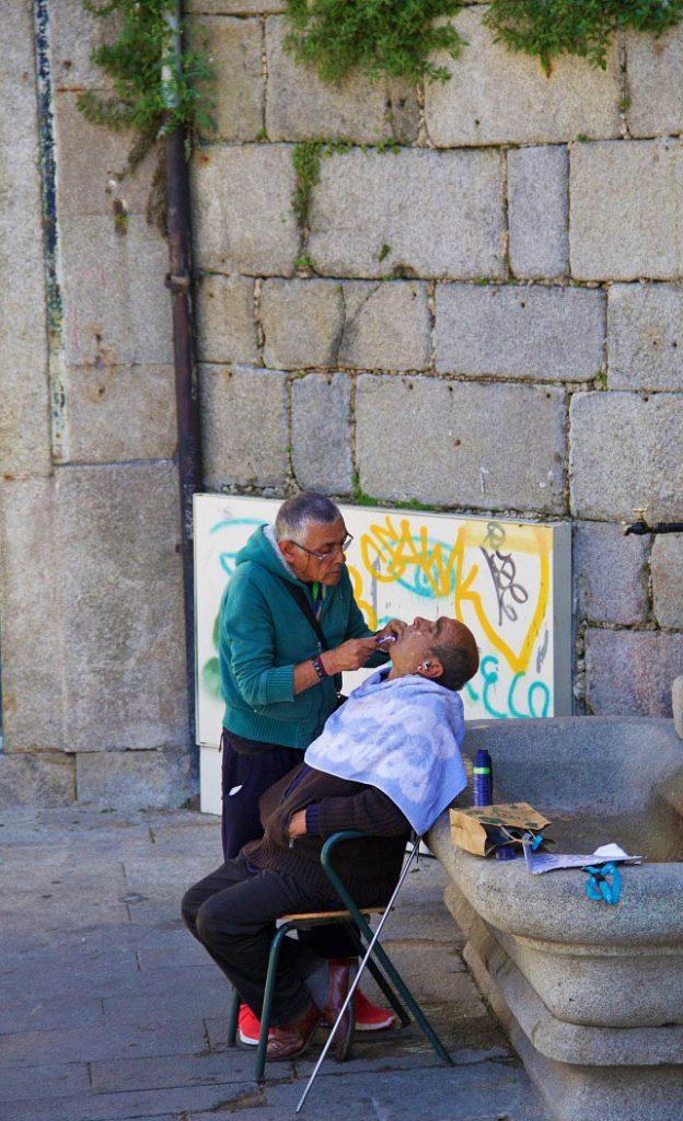 shaving streets men porto portugal
