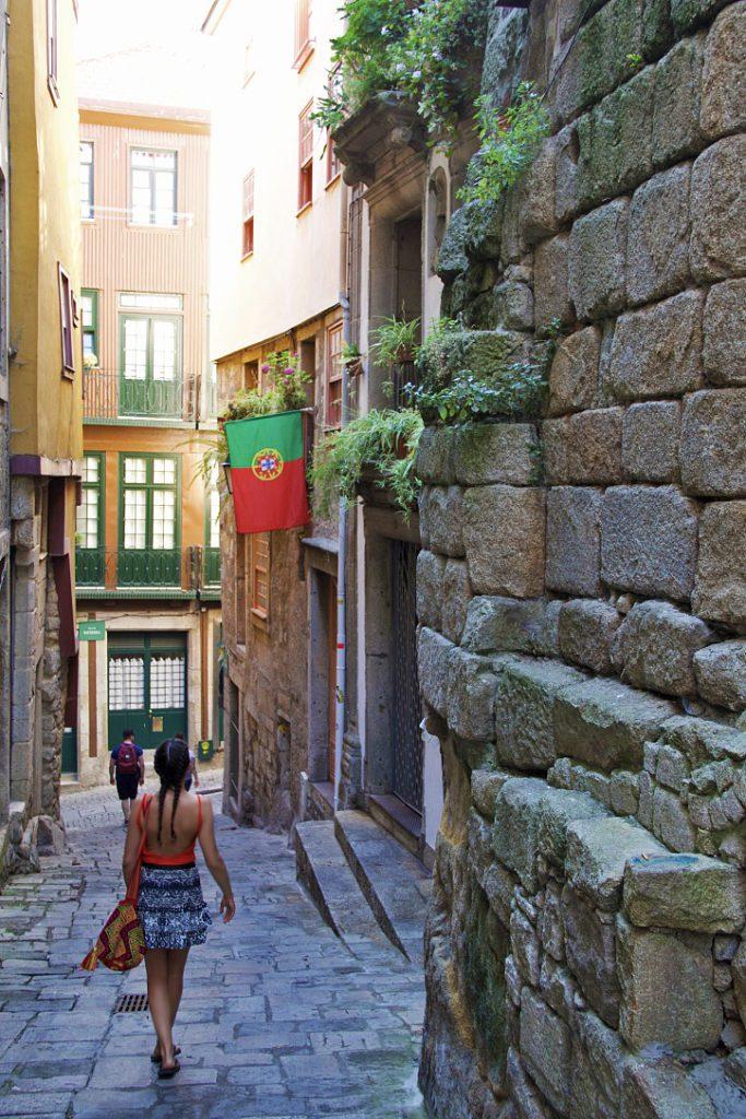 streets porto ribeira city portugal