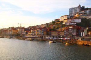 sunset porto city ribeira portugal river douro