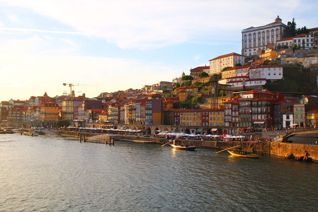 sunset porto city ribeira portugal river douro