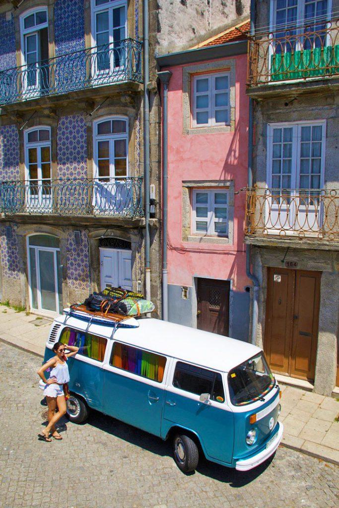 volkswagen van porto streets city tiles portugal