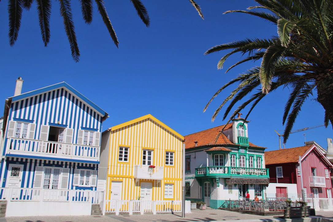 costa nova colorful tiles houses portugal