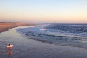 costa nova empty beach surfing sunset portugal