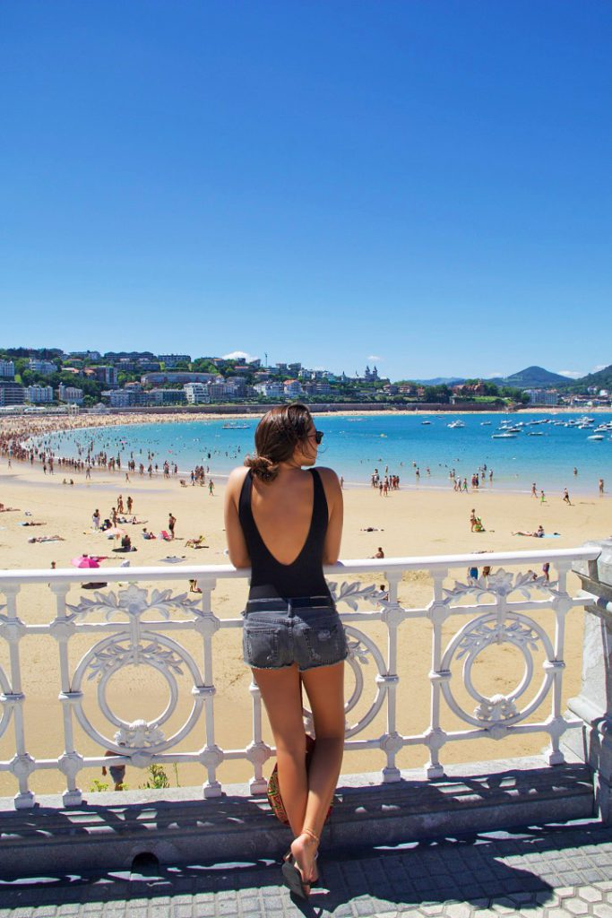 playa concha beach view donostia san sebastian spain