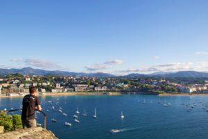 San sebastian view bay ocean mount urgull spain