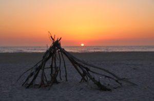 Campfire on the beach of Costa Nova Portugal
