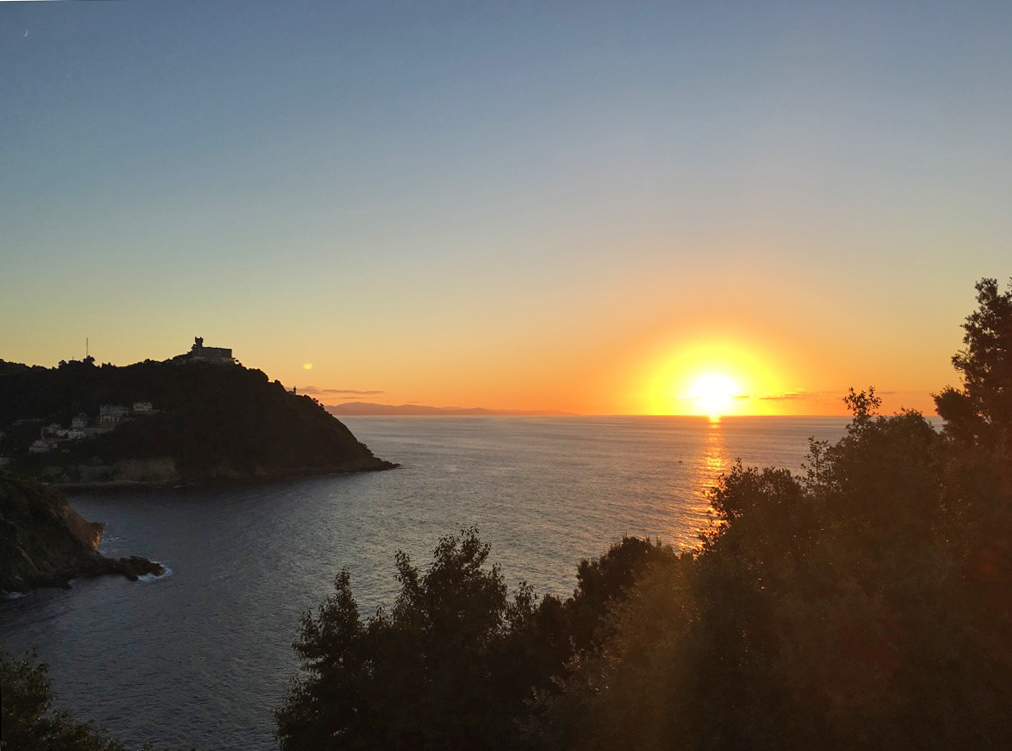 sunset monte urgull view ocean san sebastian spain