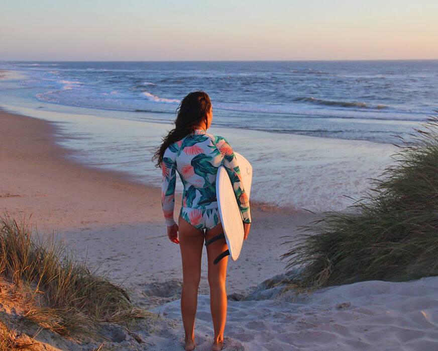 sunset surf session at costa nova beach portugal