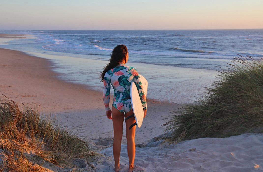 sunset surf session beach costa nova portugal