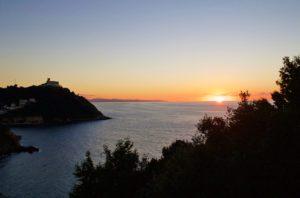 sunset view monte urgull san sebastian spain