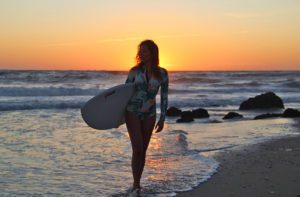 Sunset on the beach of Costa Nova Portugal