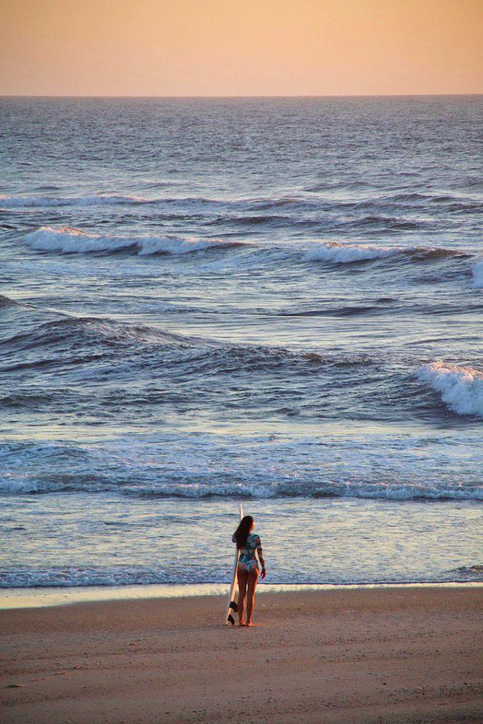 surfing sunset session costa nova portugal